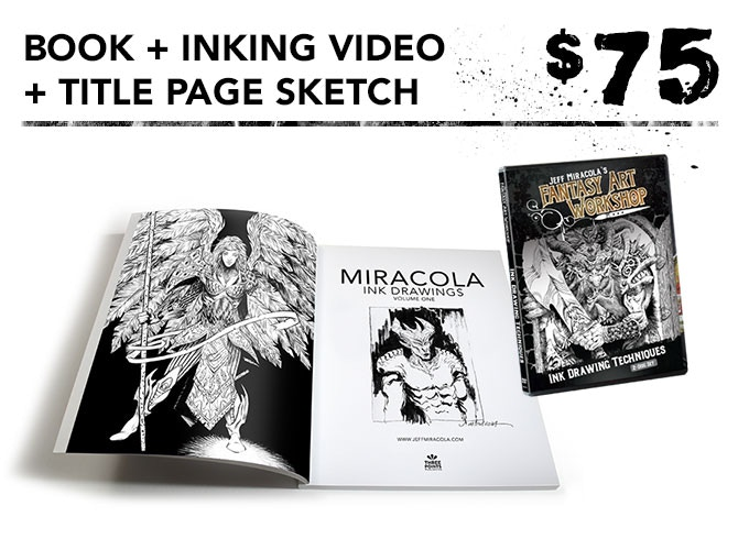 You get one signed art book + original sketch on title page + inking video in DVD and digital download formats + the free art print.