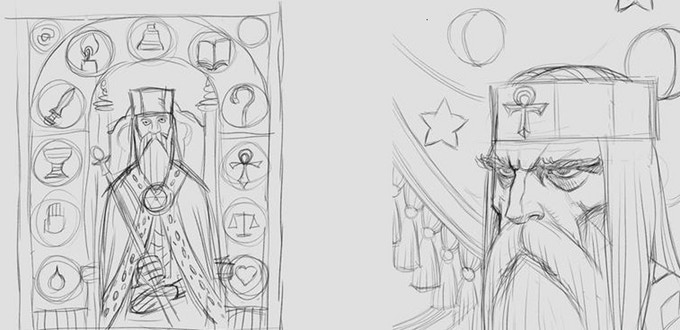 Loubet's draft for the back cover. Which one will be chosen?