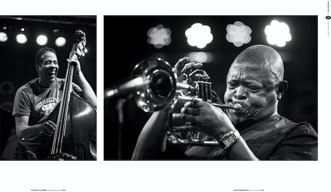 page 32 and 33, Stanley Clarke at Skopje Jazz Festival, Macedonia; Hugh Masekela at Valamar Jazz festival , Croatia