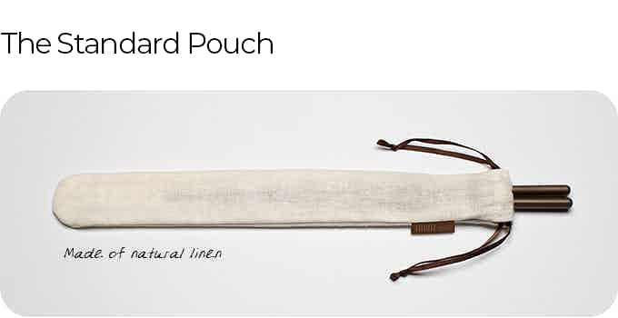 The standard, natural linen pouch, both breathable and easy to clean, is included with every pair of TWINZ Titanium Chopsticks