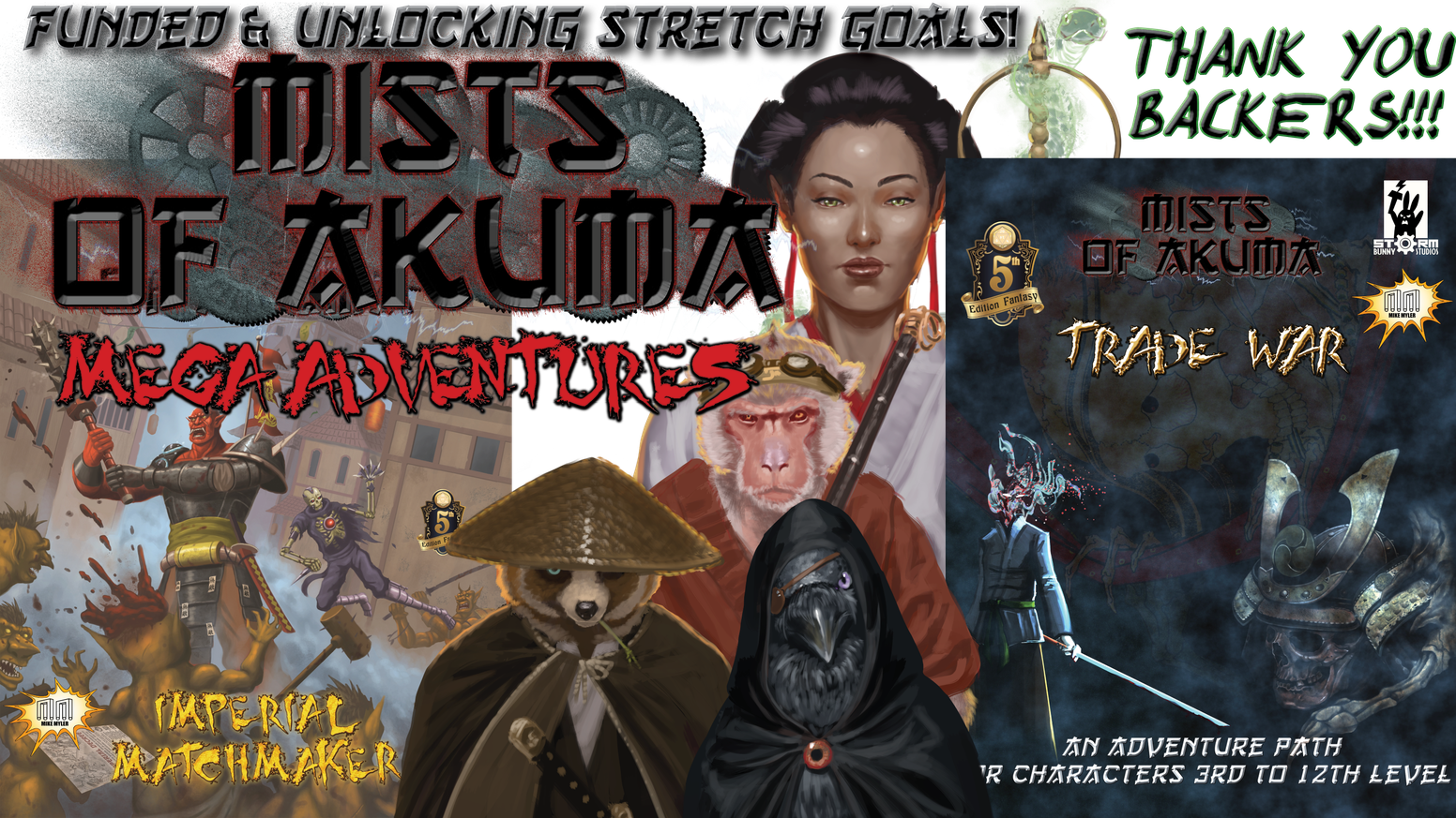 2 hardcovers in Mists of Akuma: the Trade War AP & the Imperial Matchmaker mega adventure! Thanks again to all our backers! You can get Trade War in hardcover or PDF for both 5E (https://bit.ly/2XaXQR0) and SotDL (https://bit.ly/2GzFGU1)