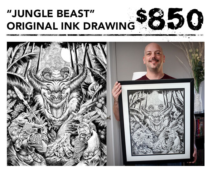 """You get the original 16""""x20"""" ink drawing of """"Jungle Beast"""" + one signed art book + inking video in DVD and digital download formats + the free art print. Picture frame not included."""