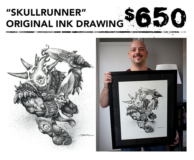 """You get the original 16""""x20"""" ink drawing of """"Skullrunner"""" + one signed art book + inking video in DVD and digital download formats + the free art print. Picture frame not included."""