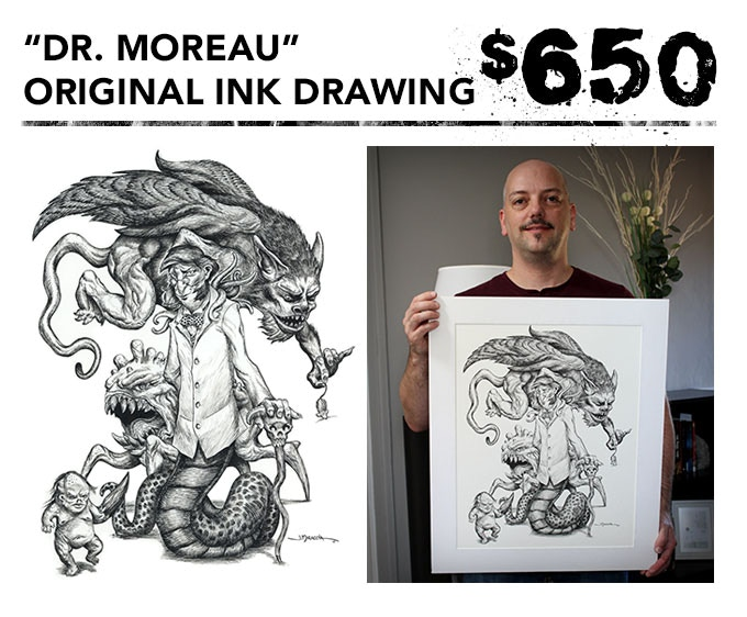 """You get the original 16""""x20"""" ink drawing of """"Dr. Moreau"""" + one signed art book + inking video in DVD and digital download formats + the free art print. Picture frame not included."""