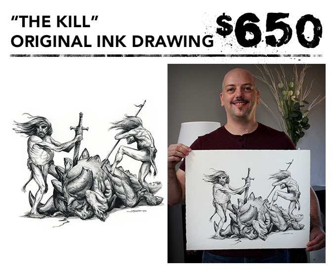"""You get the original 16""""x20"""" ink drawing of """"The Kill"""" + one signed art book + inking video in DVD and digital download formats + the free art print."""