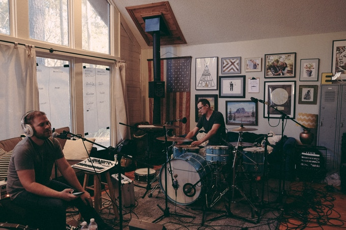 Recording drums/bass live in Gatlin's house during the beginning phases of the record.
