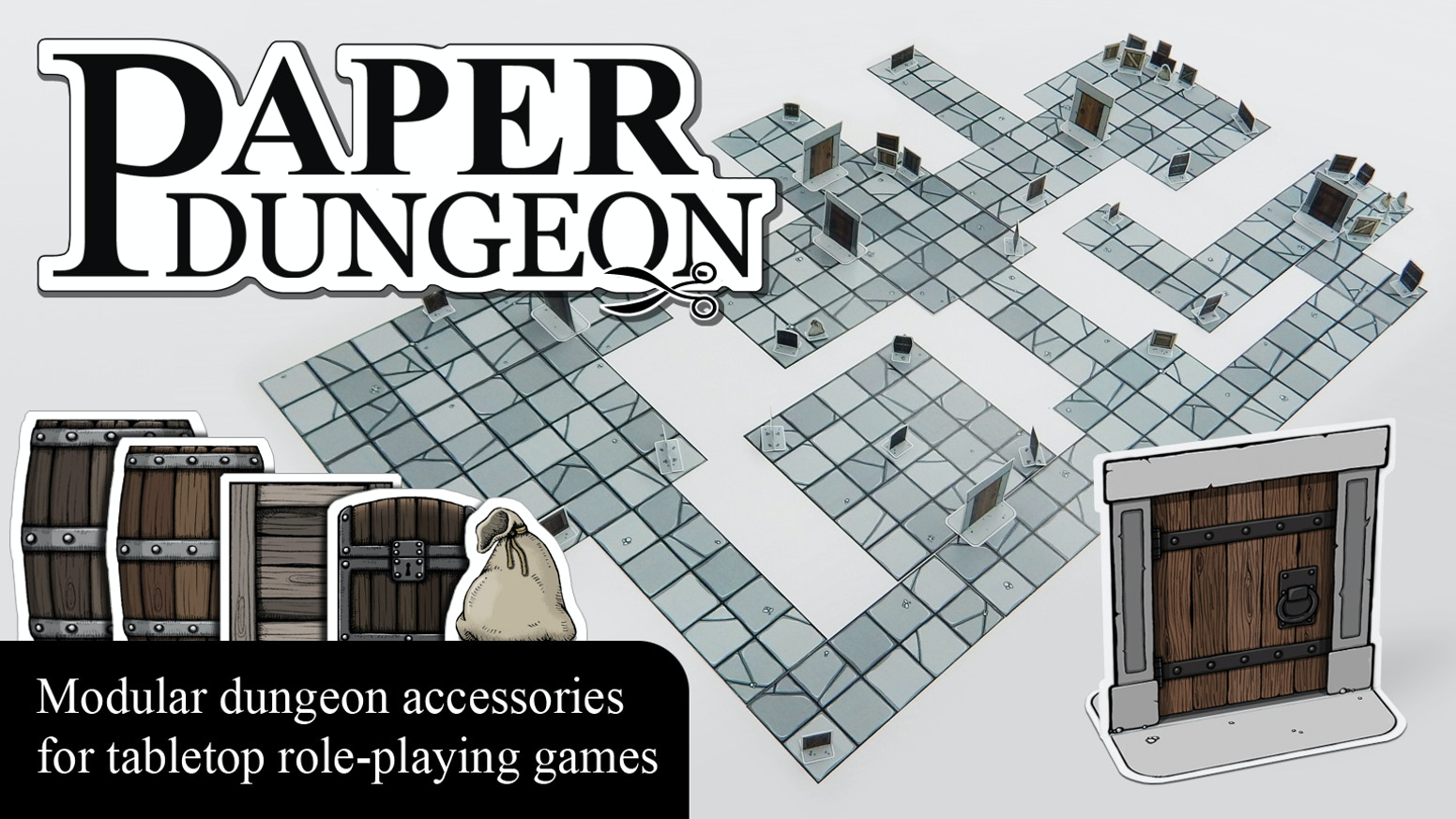 paper dungeon modular dungeon accessories for tabletop rpg by jean