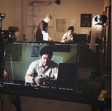 Michael and I working on a scene. His acting is truly fantastic, and I can't wait for you to see him bring the role of David Chen to life.
