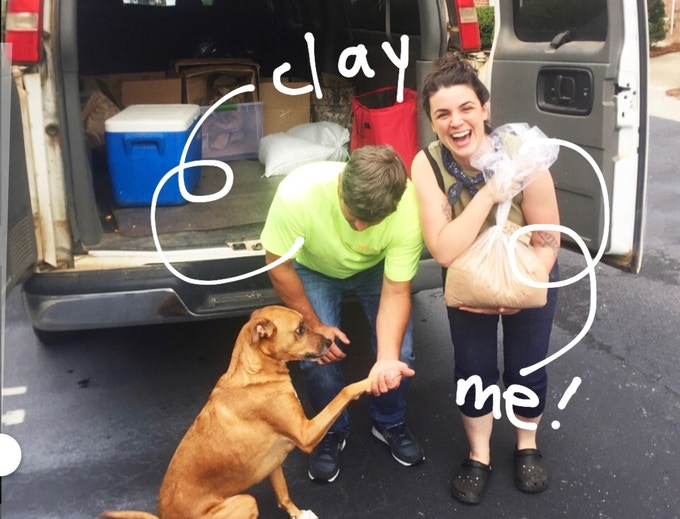 Clay Oliver of Oliver Farms delivering pecan flour and shaking hands with Dexter, the perfect dog. Me, smiling like a goon and wearing Crocs. What? They're comfortable.