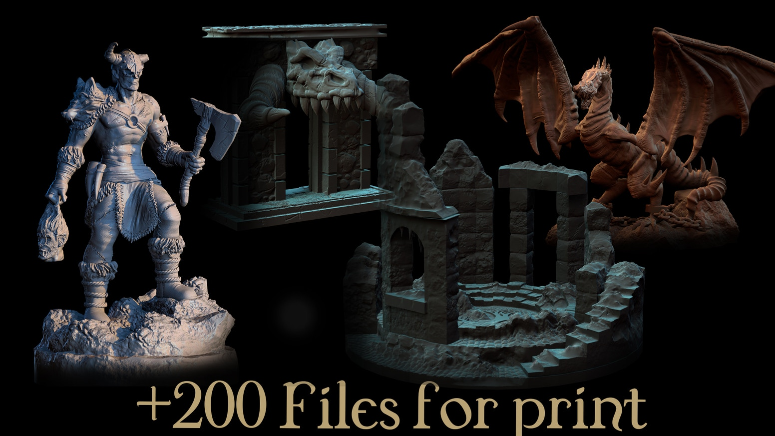 3D Printable miniatures, terrain and buildings (STL Files)