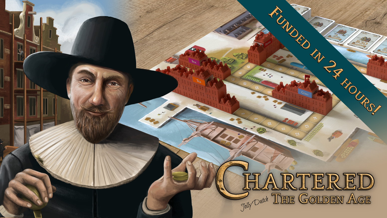 Chartered: The Golden Age - Build and buy your way to becoming Amsterdam's wealthiest merchant in this easy to learn boardgame