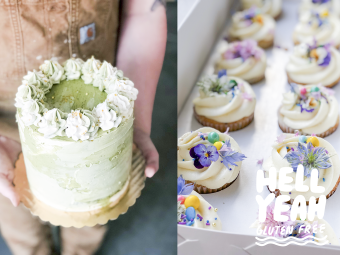 A split image: the left half is a green and ivory cake being held by me in overalls, the right half is a row of cupcakes topped with sprinkles and flowers
