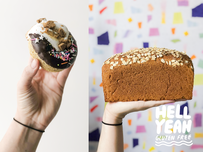 A split image: to the left is a hand holding a very decadent s'mores donut glazed with chocolate and topped with toasted marshmallow and crushed gingersnap. The right image is a hand holding a loaf of bread against a crazy colorful/patterned background