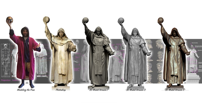 The statue design began with physical modeling, then a 2D mockup, and then iterative 3D modeling.