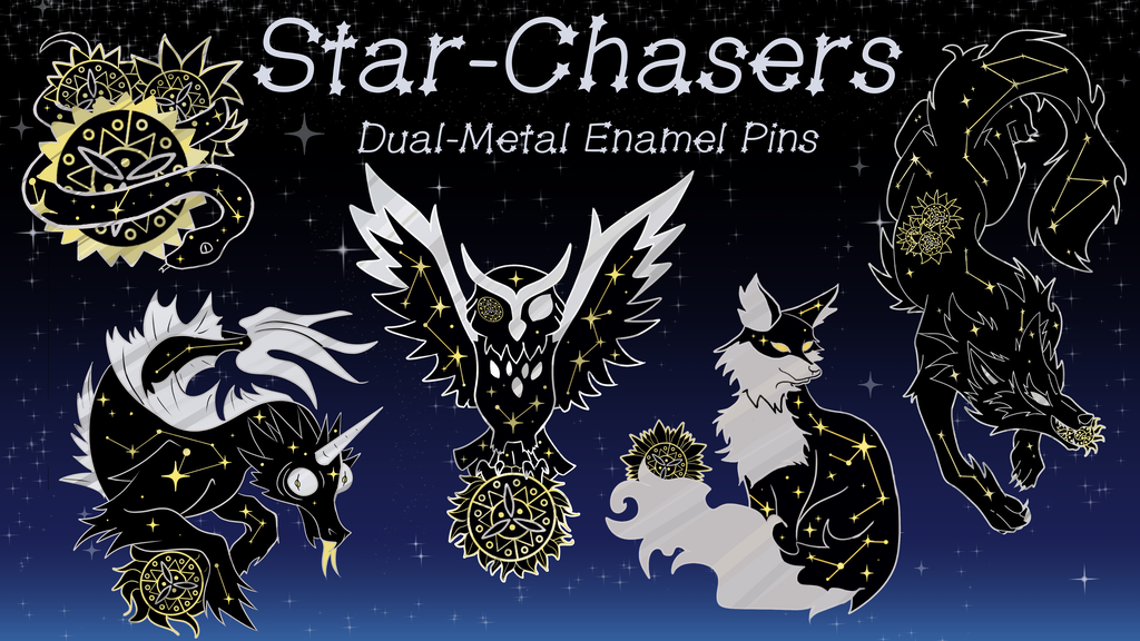 Star-Chasers Dual-Metal Plated Enamel Pins