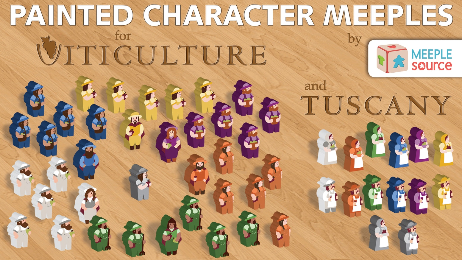 Beautifully painted Character Meeples (by Meeple Source) for Viticulture & Tuscany, the beloved winemaking games from Stonemaier Games!