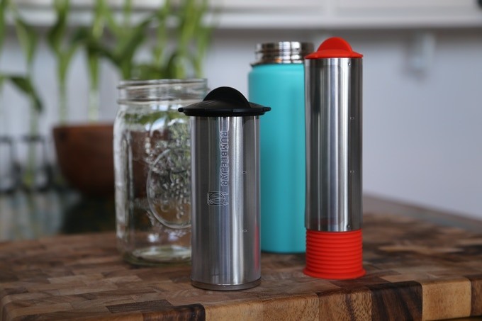 Original Rumble Jar at-home filter (left) | New Rumble Go portable filter (right)