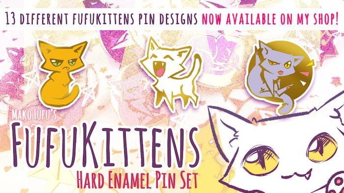 13 Cute original FufuKittens pins, now available on my shop~! ♥ MakoFufu.com/shop