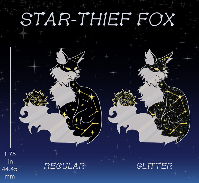 1.75 in dual-metal plated pin in gold and silver with soft black enamel (Regular) and black glitter (Glitter).