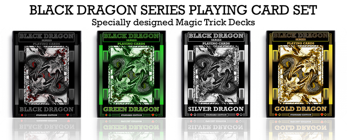 Silver Dragon is the 3rd Deck in Black Dragon Series playing card set of magic trick decks.