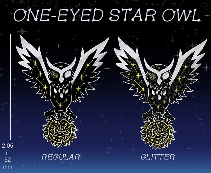 2.05 in dual-metal plated pin in gold and silver with soft black enamel (Regular) and black glitter (Glitter).