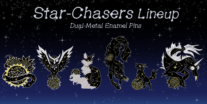 Relative sizes of Star-Chasers pin collection.
