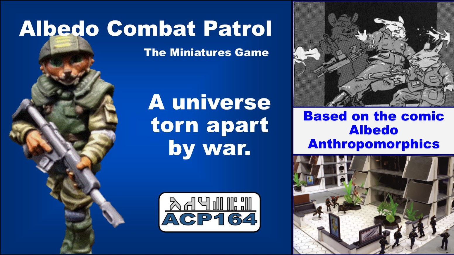 Albedo Combat Patrol is the 28mm miniatures game based on the unique comic book art of Steve Gallacci's Albedo Anthropomorphics.