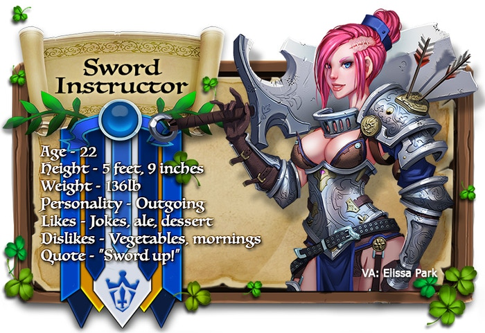 Sword Instructor voiced by Elissa Park