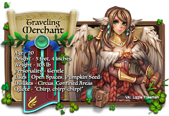 Traveling Merchant voiced by Lizzie Freeman