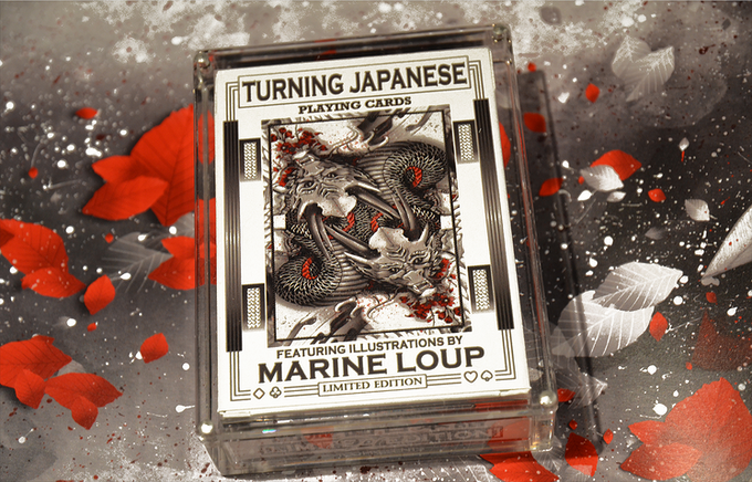 Turning Japanese Playing Cards is a Limited Edition 60 card deck featuring signature illustration cards by world famous artist Marine Loup!.  (Each deck includes 1 x Bonus Legend of the Koi Card inside the deck)