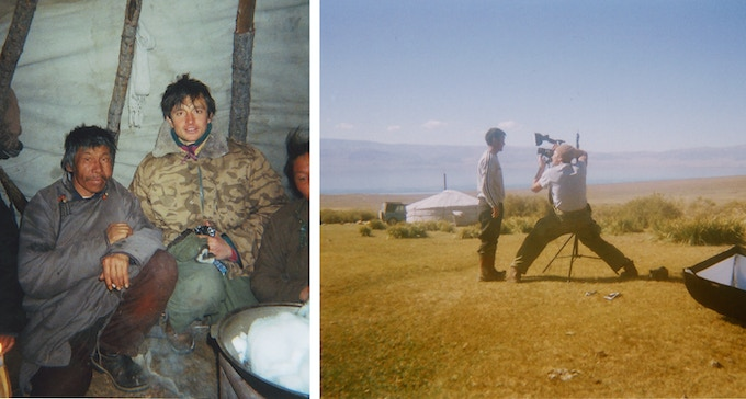 Tsaatan herder and I in his ger, Winter 2006 (left). Shooting a portrait of my friend Altai during one of my first trips to Mongolia in Fall of 2006 (right).