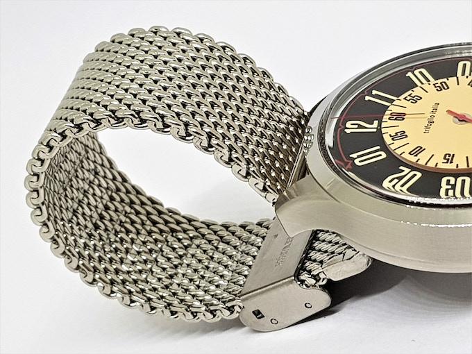 Veloce Black on Stainless Steel Milanese Mesh Bracelet