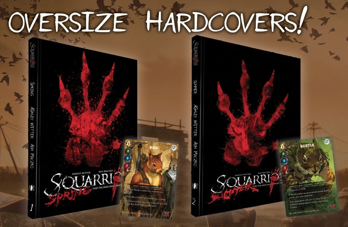 Each hardcover comes with a book plate signed by Ash Maczko and Ashley Witter AND an exclusive Squarriors: The Card Game Devil's Due Comics variant card!