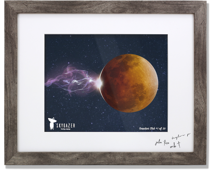 Reward #13 - Framed, Matted, 'Lunar Flare' Can Art Print. Signed with personal thank you note from our small team. Numbered 1-20, Founders Club in order pledges are received.