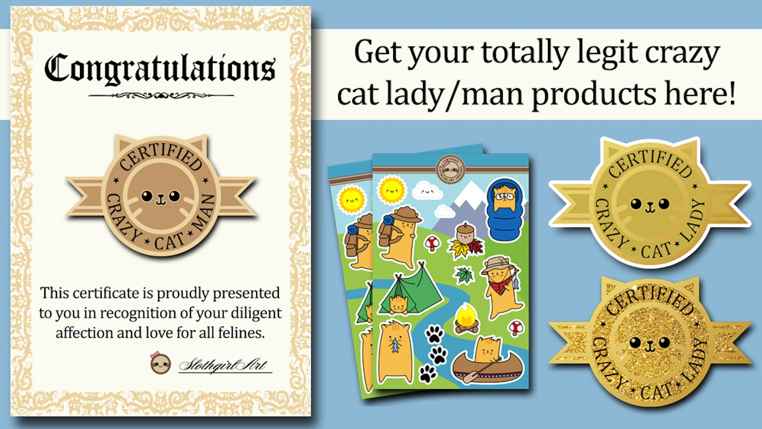 certified crazy cat lady man pins and other products by