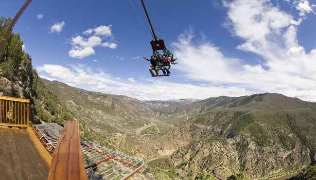 Would you ride the Giant Canyon Swing? Your body will dangle over mountains! -Found in Colorado