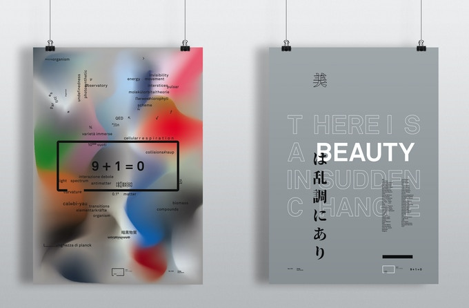 Poster (left): 9 + 1 = 0 • Poster (right): there's a beauty in sudden change