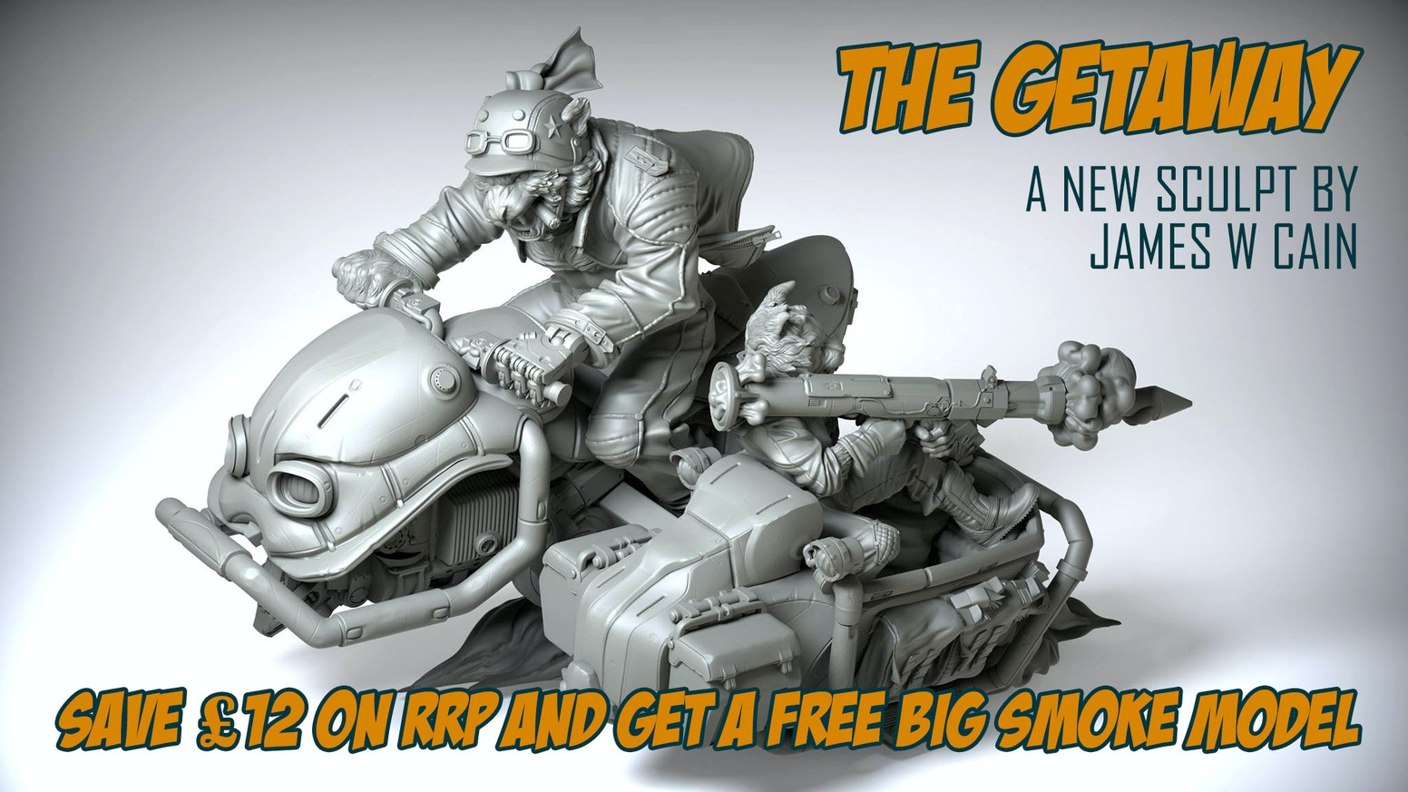 The Getaway is Infamy's largest collectible kit yet. An awesome new model of feline bank robbers on the run, sculpted by James W Cain!