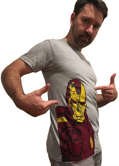 Custom Iron Man T-Shirt illustrated by Adam Wallenta (This one is a small)