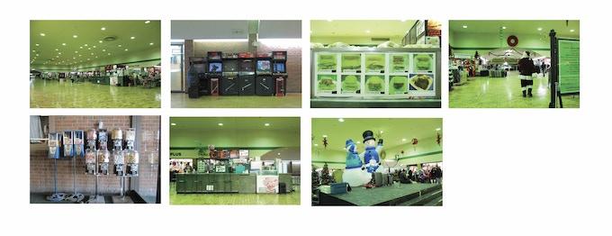 Interior, arcade games, sandwiches, Santa, candy dispensers, El Amigo, snowmen