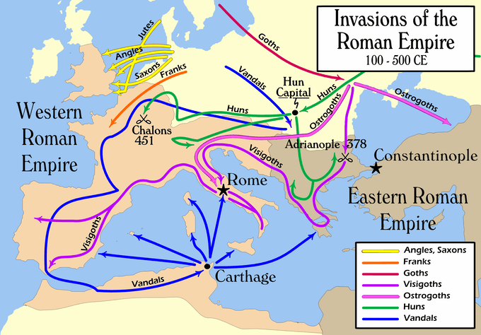 "Map of the ""barbarian"" invasions of the Roman Empire showing the major incursions from 100 to 500 CE (Wikipedia, User:MapMaster)"