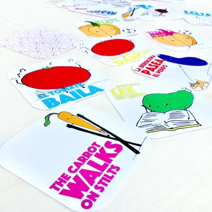 HALF+MEDIO includes 24 funny cards! (12 Spanish, 12 English)