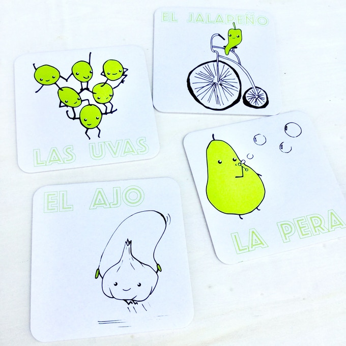 Screen-printed coasters featuring favorites from HALF+MEDIO!