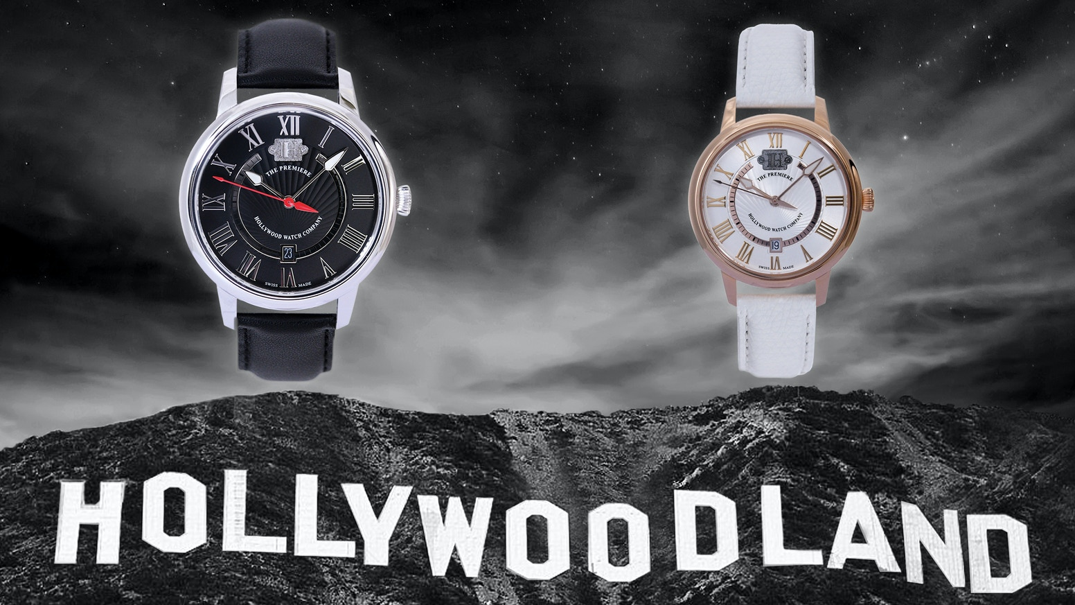 The Premiere: Limited-edition luxury Swiss-made watches, with metal from the original Hollywood Sign from 1923. Own a piece of history.
