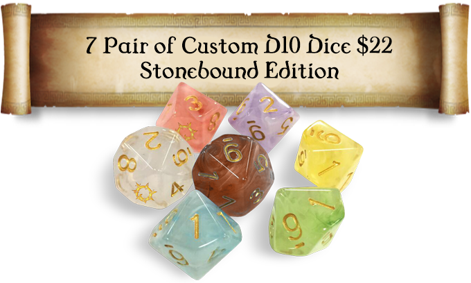 Custom D10 swirled design with gold numbers and Stonebound logo replacing the zero! 14 total dice.