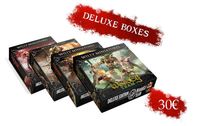 You can choose Ratmen, Chaos Pact, Wood Elves or Chaos. Each Deluxe Box includes a 2 sided pitch, 2 reversible dugouts and a foam tray to storage and carry your miniatures.