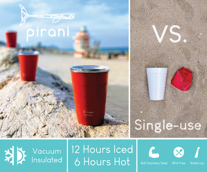 Keeps your drinks hot/cold, hands dry & party spirit alive.  Back Pirani Life & keep single-use plastic out of our oceans & landfills