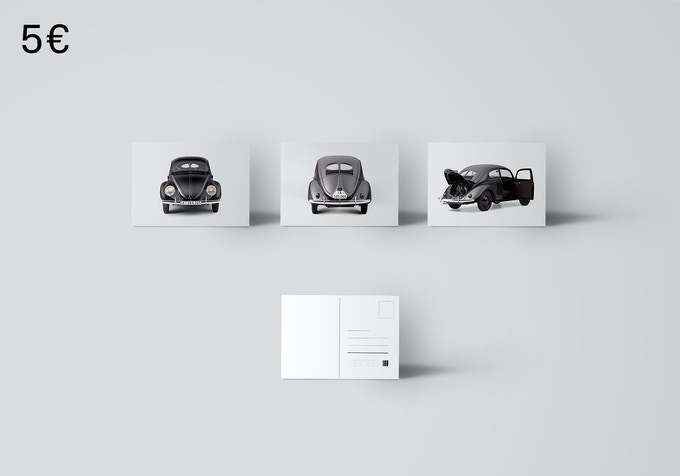 Three postcards with photos of the car. [5€ + Shipping]