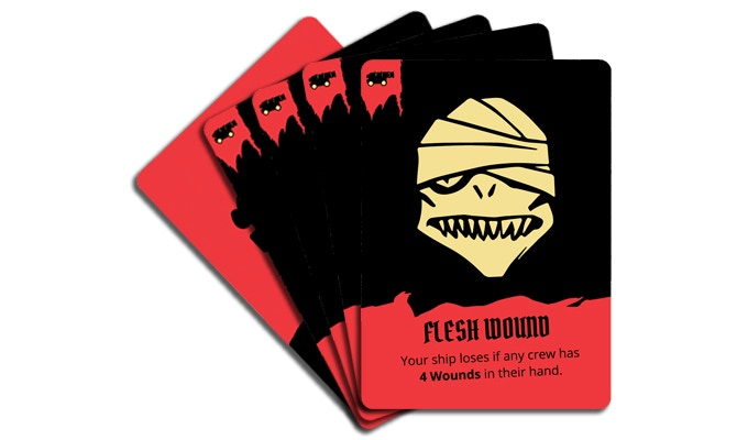 This example shows four flesh wound cards in the Gunner crew's hand.