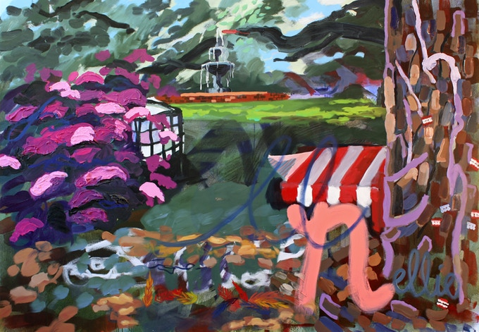 """Susanna Bluhm, """"For Miss Nellie (The Spouter-Inn),"""" 2017, oil and acrylic on canvas, 60 x 86 inches"""